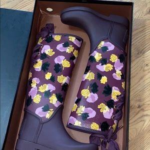 Coach Shoes - NEW COACH Tristee Floral Lace Tie Rain Boots Sz 5